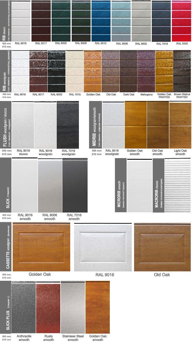 Доступные цвета и типы панелей для гаражных ворот Ryterna